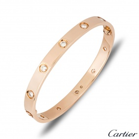 Cartier Rose Gold Full Diamond Love Bracelet Size 20 B6040620